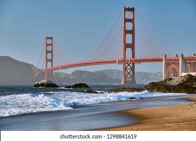 Golden Gate Bridge view from Baker Beach. Pacific coast landscape. San Francisco, California, USA
