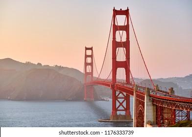Golden Gate Bridge view from Golden Gate Overlook at sunset, San Francisco, California, USA