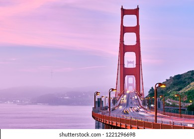 Golden Gate Bridge view at sunrise, San Francisco, California, USA