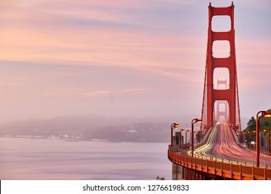 Golden Gate Bridge view at sunrise, San Francisco, California, USA