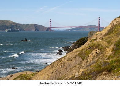 Golden Gate Bridge viewed from Lands End park in San Francisco, California.