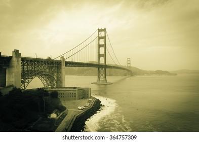 Golden Gate Bridge Vintage effect San Francisco California December 2015