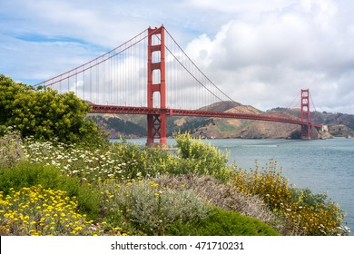 Golden Gate Bridge with wildflowers in the foreground on a partly cloudy day.