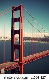 Golden Gate Bridge without cars, vintage style, long term exposure, San Francisco, California, USA,