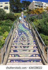 Golden Gate Heights Mosaic Stairway is beautiful mosaic running up the risers of the 163 steps located at 16th and Moraga in San Francisco.