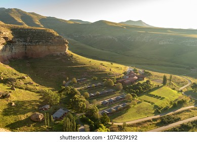 GOLDEN GATE HIGHLANDS NATIONAL PARK, SOUTH AFRICA - MARCH 12, 2018: Aerial view of the hotel in the Golden Gate Highlands National Park in the Free State Province of South Africa