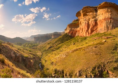 The Golden Gate Highlands National Park in South Africa photographed in late afternoon sunlight.