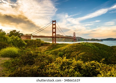 golden gate in the late afternoon
