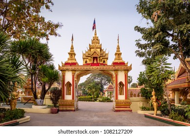 Golden gate leading to Wat That Luang, Vientiane, Laos
