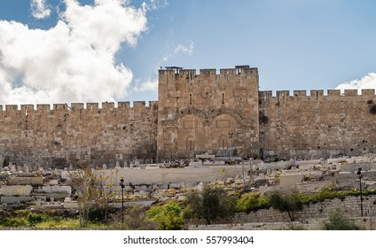 The Golden Gate or Gate of Mercy and ancient cemetery on the east-side of the Temple Mount of the Old City of Jerusalem, Israel