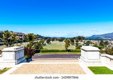 Golden Gate National Cemetery, San Bruno, California, USA. Copy space for text