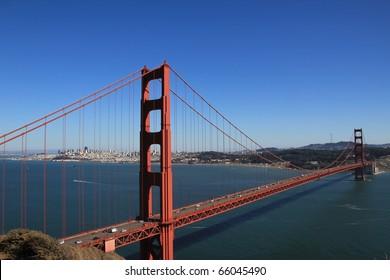 GOLDEN GATE NATIONAL RECREATION AREA, CALIFORNIA - SEPTEMBER 1, 2010: Golden Gate Bridge taken from Battery Spencer overlook in Marin County near Sausalito on September 1, 2010.