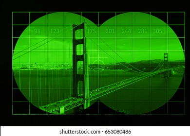 Golden gate in San Francisco - view through night vision