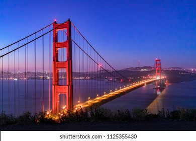 The Golden Gate suspension bridge spans the strait of the same name, and is seen before dawn from Battery Spencer, an old gun emplacement on the Marin Headlands overlooking San Francisco Bay's entranc