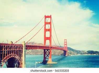 Golden gate in vintage tone, California