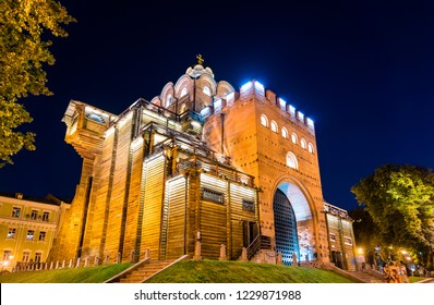 The Golden Gates of Kiev at night. Ukraine, Eastern Europe