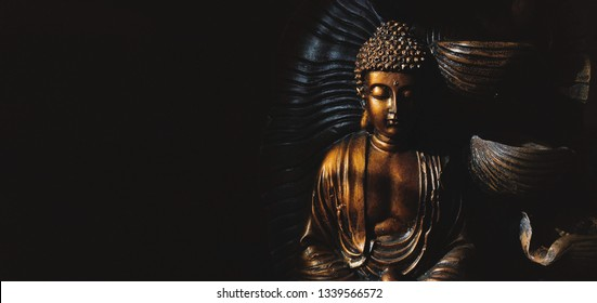 Golden Gautama Buddha statue with a black background depicting darkness and hope.