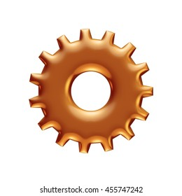 Golden gear bearing in 3d rendered on isolated white background.
