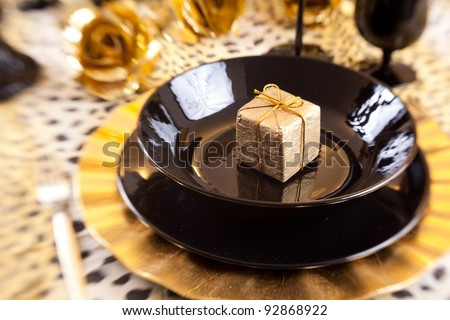 Golden Gift Box Black Gold Table Stock Photo Edit Now 92868922