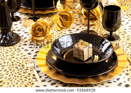 Golden Gift Box Black Gold Table Stock Photo Edit Now 92868928