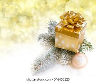golden gift box with fir tree  - Shutterstock ID 346458125