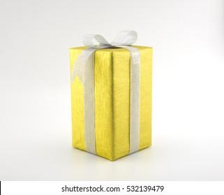 Golden gift box on white background.