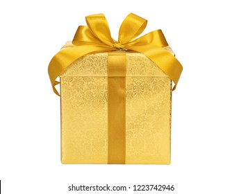 Golden gift box with ribbon bow on white background.