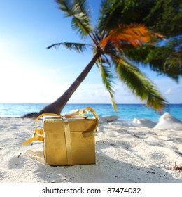 golden gift on ocean beach under palm