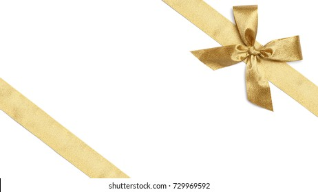 Golden Gift Wrap Ribbons for Christmas, isolated on white background in HD 16:9 format crop and diagonal cut
