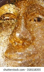 Golden Gilded Buddha Face