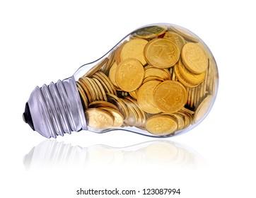 Golden  glass lightbulb  creative symbol  of  business, renewable energy sources
