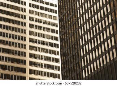 Golden glass skyscrapers in Toronto, Canada