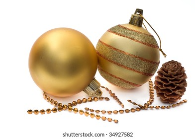 Golden glass spheres and christmas decoration