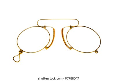 27a7d6a47e7e Golden glasses (pince-nez) on white with clipping paths.