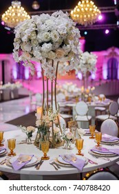 Golden glasses stand by plates with violet napkins on the table
