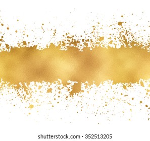 Golden glitter banner leaf foil, splash texture with copyspace