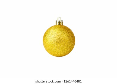 Golden glitter Christmas ball on isolated white background