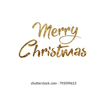 The Golden glitter isolated hand writing word MERRY CHRISTMAS N on black background