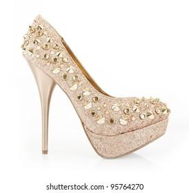 golden glitter spiked shoe