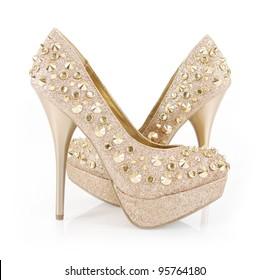 golden glitter spiked shoes
