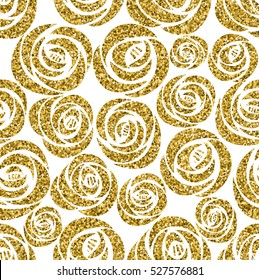 Golden glitter texture with hand draw black  circles seamless pattern in gold style. Celebration metallic background.