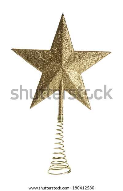 Golden glitter tree topper star on white background