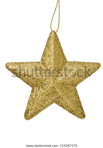 Golden glittering star  Christmas ornament isolated on white background
