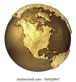 Golden globe model without water. North America. 3d rendering isolated on white background. Elements of this image furnished by NASA
