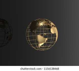 Golden globe on black background