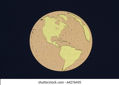 Golden globe showing North, South America and parts of Europe and Africa on a black background