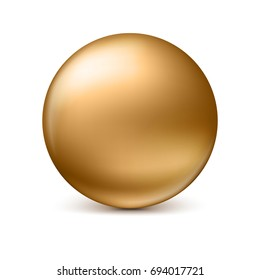 Golden glossy sphere isolated on white with shadow and reflections in the color of the sphere. 3D illustration for your design, easy to edit and change the size