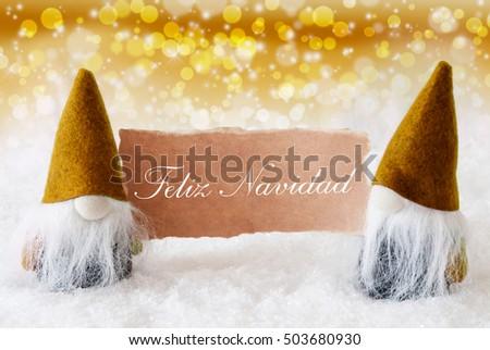 a12472b25b4d4 Golden Gnomes Card Feliz Navidad Means Stock Photo (Edit Now ...