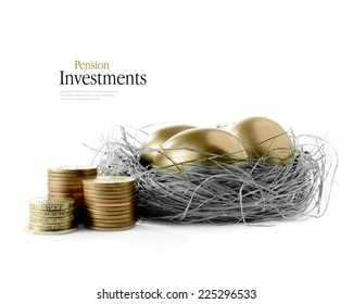 Golden goose eggs placed in a authentic looking grass nest against a white background with the image coloured bronze and greyscale. Concept image for pension savings and investments. Copy space.