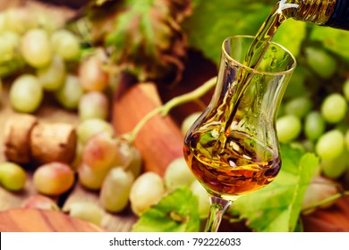 Golden Grappa Being Poured Into Shot Glass, Rustic Still Life, Selective Focus